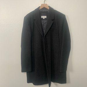 CALVIN KLEIN Gingham Black & Gray Wool Topcoat